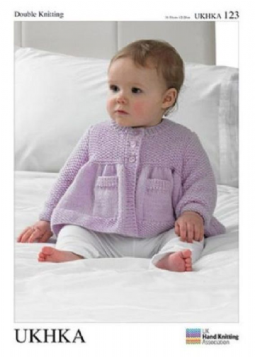DK Baby Knitting Pattern - Cardigan with pockets and Baby Blanket UKHKA 123
